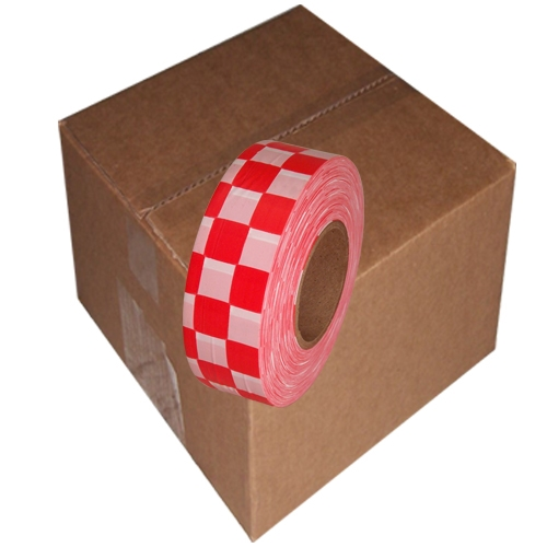12 Roll Case of White and Red Checkerboard Flagging Tape 1 3/16 inch x 300 ft Non-Adhesive