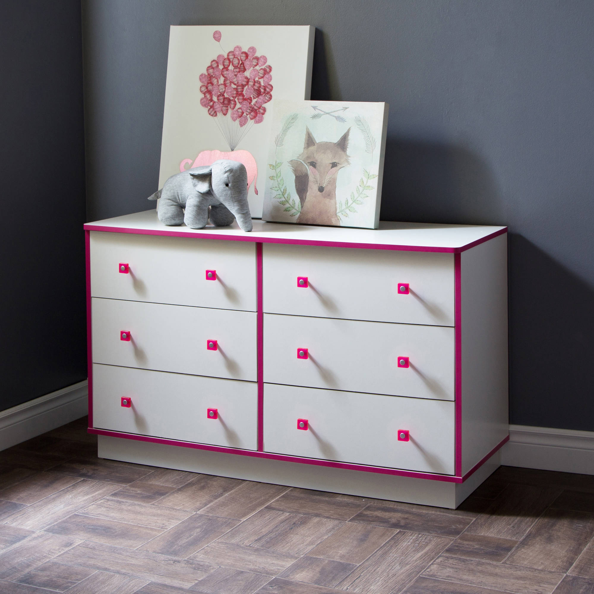 South Shore Logik 6-Drawer Double Dresser, White and Pink