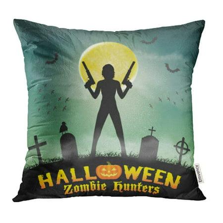 ARHOME Soldier Halloween Zombie Hunter with Handgun in Graveyard Woman Action Pillow Case Pillow Cover 20x20 inch Throw Pillow - Zombie Soldier
