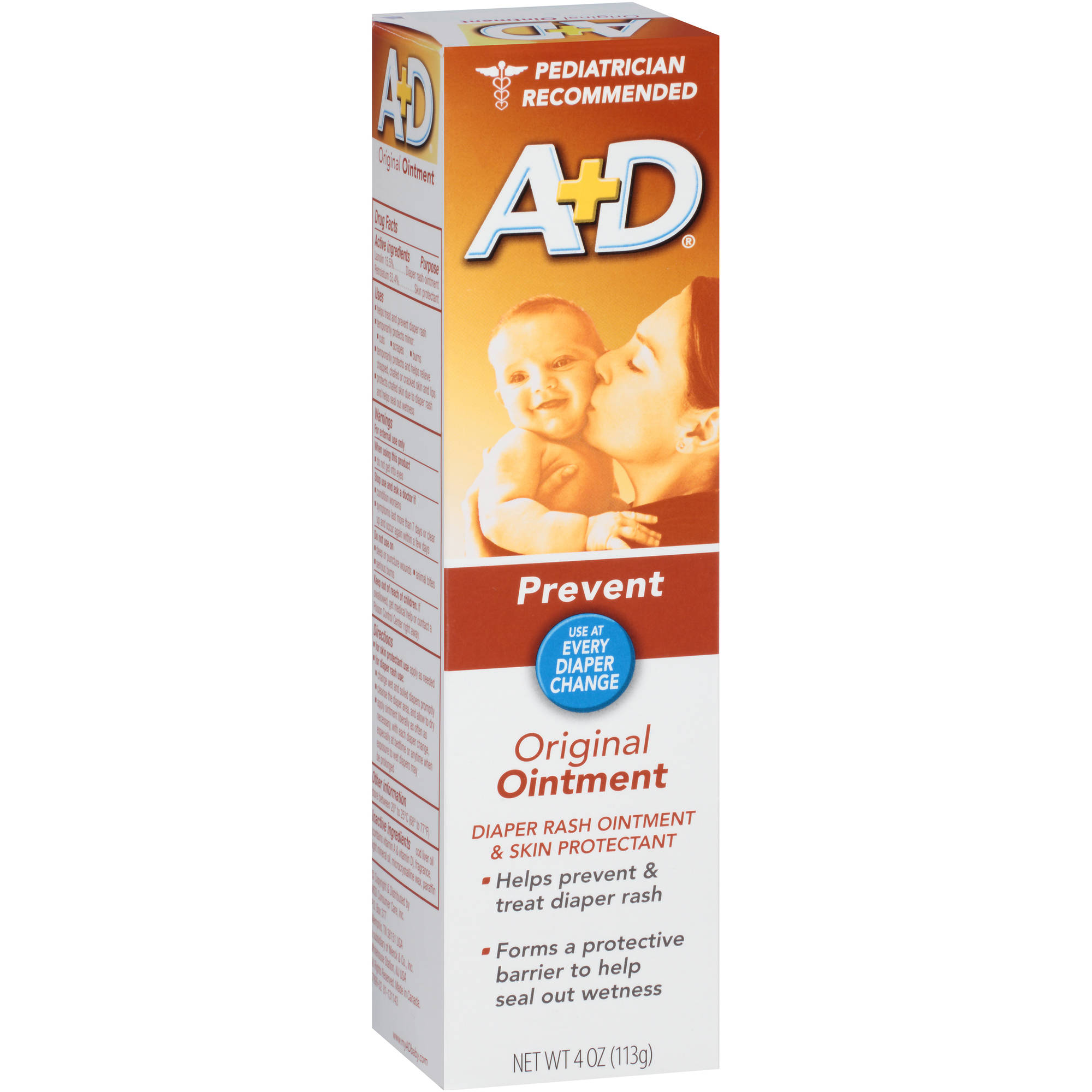 A+D Prevent Original Ointment Diaper Rash Ointment & Skin Protectant, 4 oz