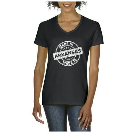 Artix Made In Ar Natural Little Rock Flag Map Home Of University Of Arkansas Uark Ua Womens V Neck T Shirt Tee Clothes
