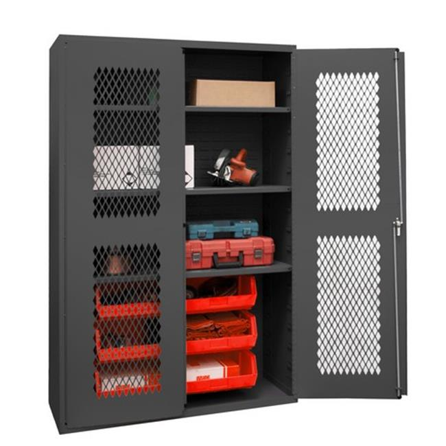 14 Gauge Flush Door Style Lockable Clearview Cabinet with 6 Red Hook on Bins & 3 Adjustable Shelves, Gray - 48 in.