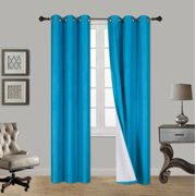 "(SSS) 2-PC Turquoise Solid Blackout Room Darkening Panel Curtain Set, Two (2) Window Treatments of 37"" Wide x 84"" Length Each Panel"