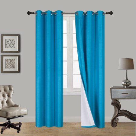 (SSS) 2-PC Turquoise Solid Blackout Room Darkening Panel Curtain Set, Two (2) Window Treatments of 37