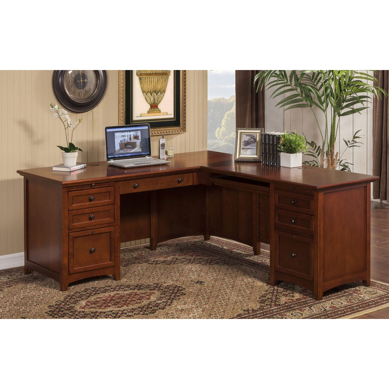 Winners Only Flagstaff Desk with Return - Mission Cherry