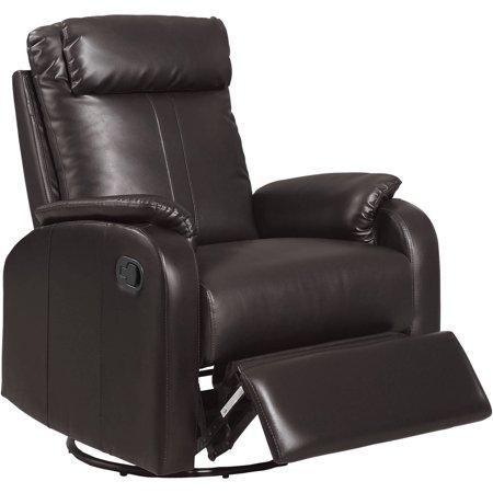 Monarch Recliner Swivel Rocker Dark Brown Bonded Leather