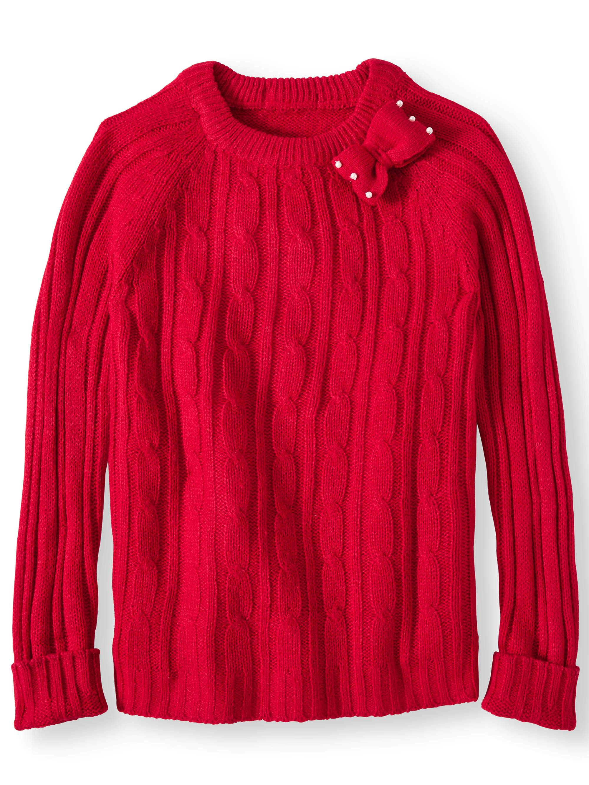 Product Image Bow Neck Cable Pullover Sweater (Little Girls \u0026 Big Girls)