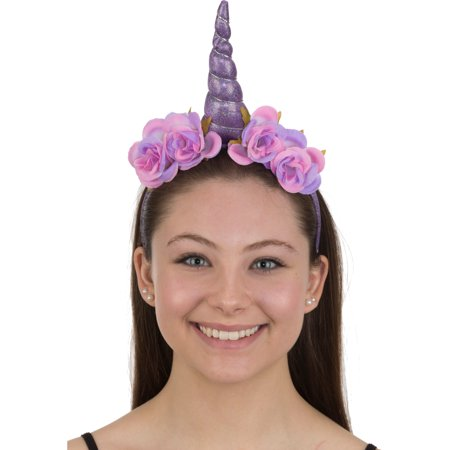 Purple Unicorn Pink/Purple Rose Headband Costume - Diy Unicorn Horn Headband