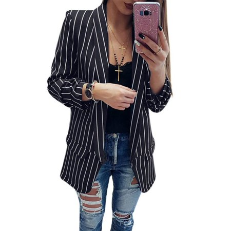 Buttoned Blazer - JLONG 1Pcs Womens Casual Work Striped Blazer Slim OL Suit Jacket Button Coat Tops Outwear