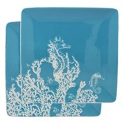 """Ebros Nautical Coastal Ocean Sea Marine Seahorse By Corals Abstract Art Soothing Blue Large Dinner Plate Set of 2 Square 10.75"""" Plates Dishwasher Microwave Safe Dinnerware Dishes"""