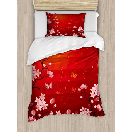 Red Twin Size Duvet Cover Set Ethereal Abstract Sunset Scenery With Blossoming Sakura Sprigs And