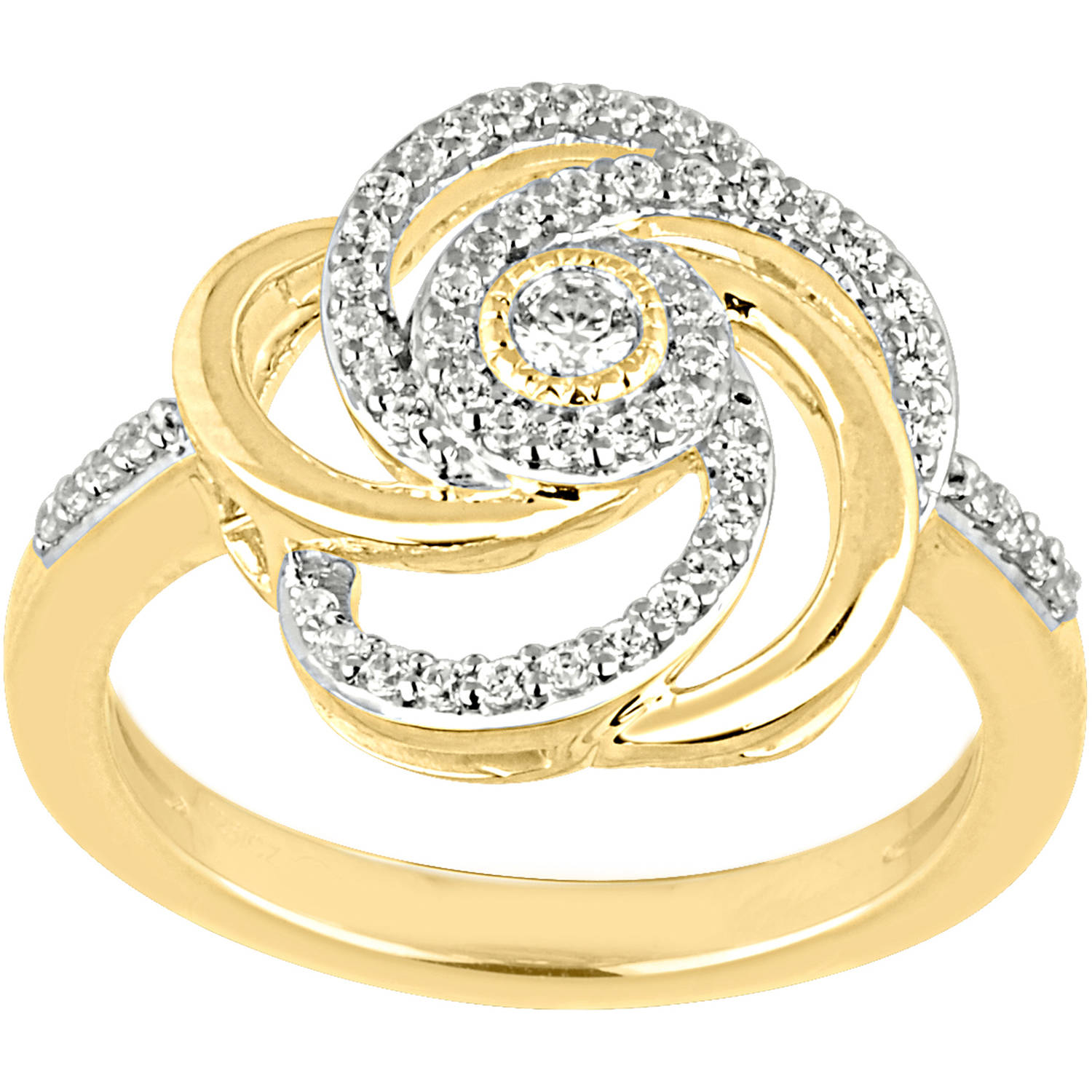 1/3 Carat T.W. Diamond 10kt Yellow Gold Floral Swirl Ring