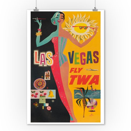 TWA - Las Vegas Vintage Poster (artist: Klein) USA c. 1950 (9x12 Art Print, Wall Decor Travel Poster) (1950 Decor)