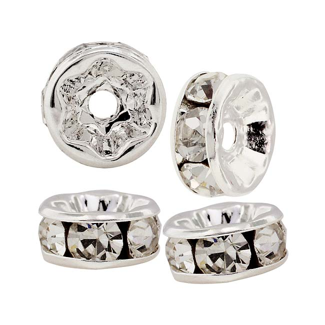 Beadelle Crystal 6mm Rondelle Spacer Beads - Silver Plated / Crystal (4 Pieces)