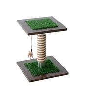 "Pawhut 15"" Artificial Grass Cat Scratching Post Activity Tree"