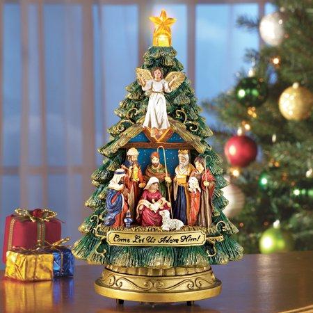 Musical Nativity Scene Christmas Tree Tabletop Figurine - Plays Silent Night