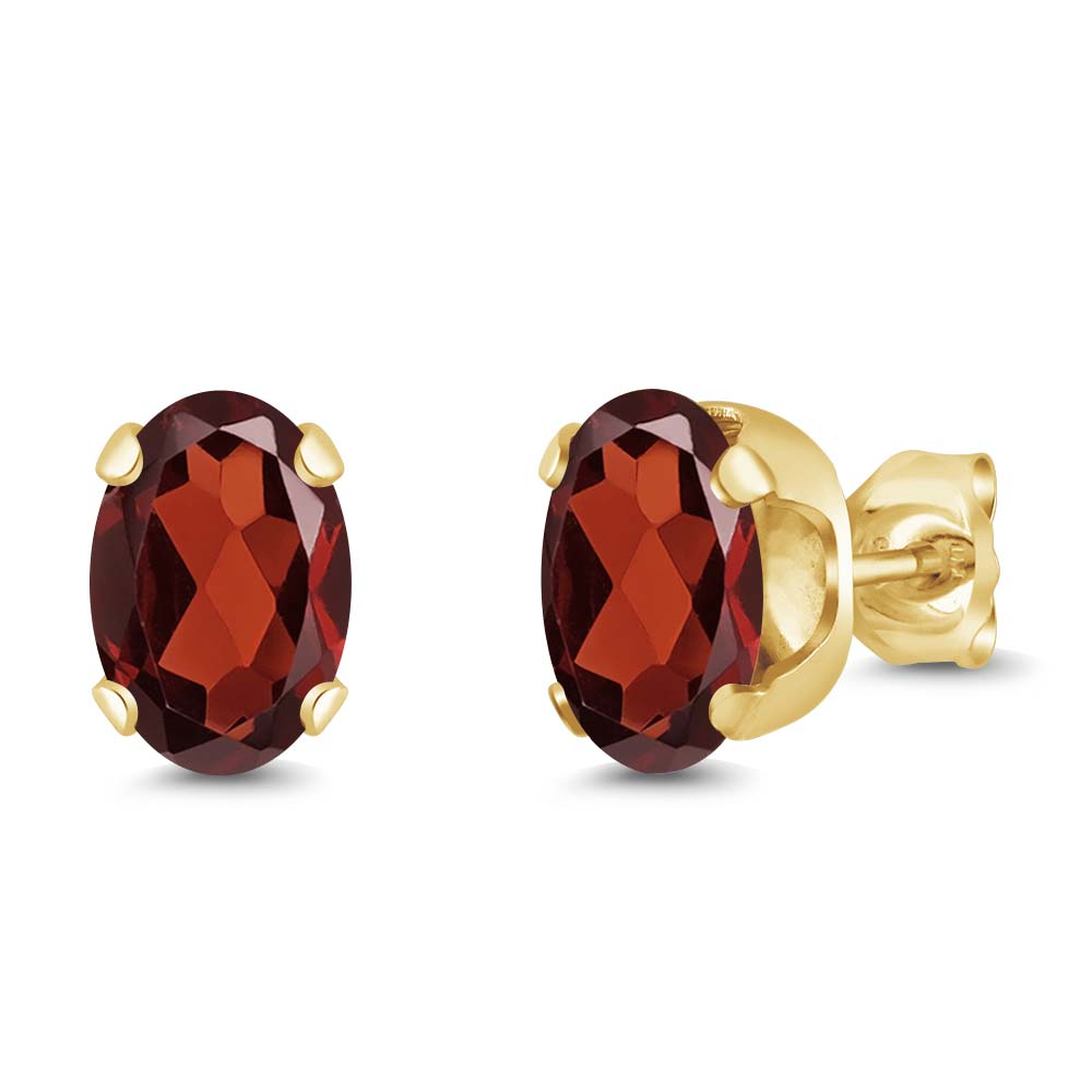 1.80 Ct Oval 7x5mm Red Garnet 18K Yellow Gold Plated Silver Stud Earrings