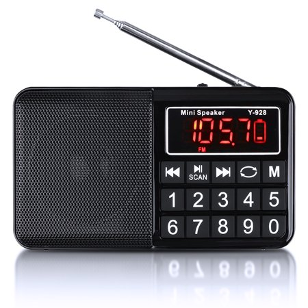 EEEkit FM Battery Operated Portable Pocket Radio, FM Compact Transistor Radios Player Operated by USB or DC Supply Adapter, Best Reception and Longest