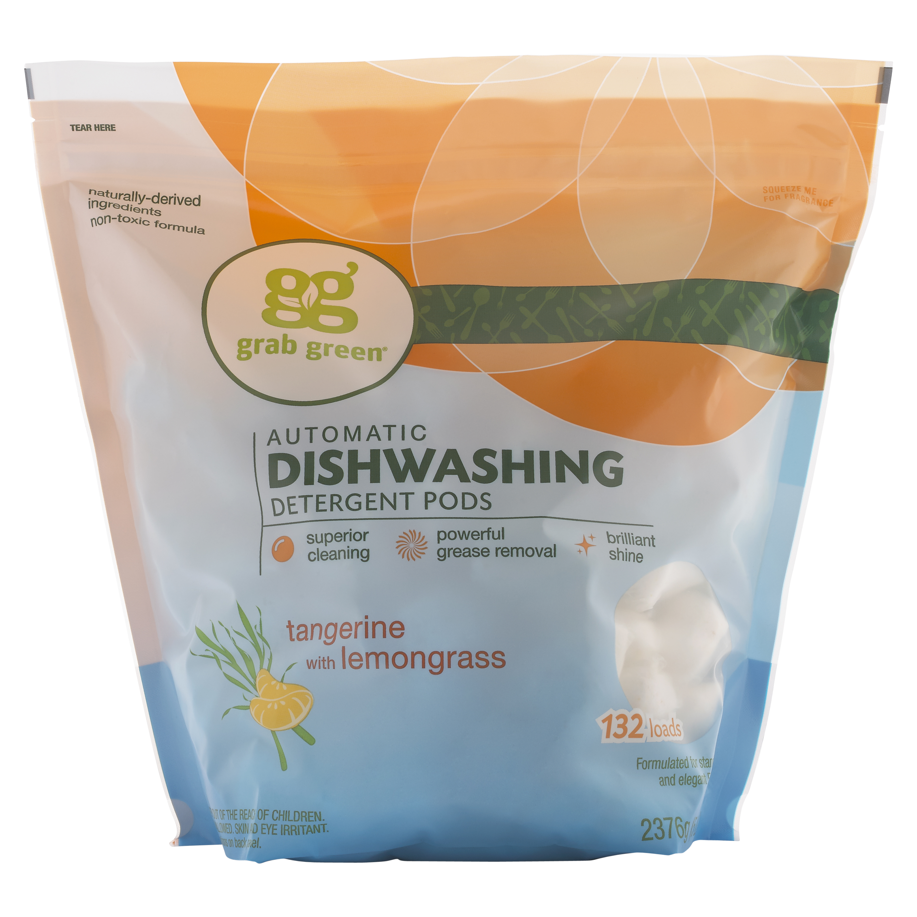 Grab Green Automatic Dishwashing Detergent Pods, Tangerine with Lemongrass, 132 Count