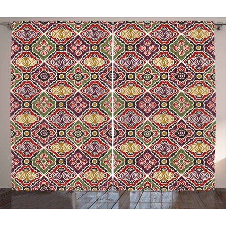 Japanese Curtains 2 Panels Set, Traditional Antique Motifs Eastern Exotic Pattern Asian Accents Vintage Oriental, Window Drapes for Living Room Bedroom, 108W X 108L Inches, Multicolor, by Ambesonne](Asian Curtains)