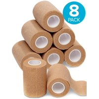 "8-Pack, 3"" Wide x 5 Yards, Self-Adherent Cohesive Tape, Strong Sports Tape for Wrist, Ankle Sprains & Swelling, Self-Adhesive Bandage Rolls, Vet Tape Vet Wrap, Brown Color, By California Basics"