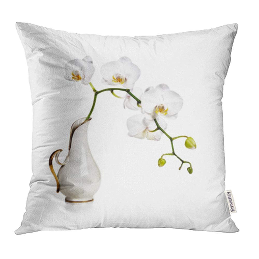 CMFUN Porcelain White Orchid Flowers in Retro Vase Stem Studio Antique Arrangement Pillowcase Cushion Cases 16x16 inch