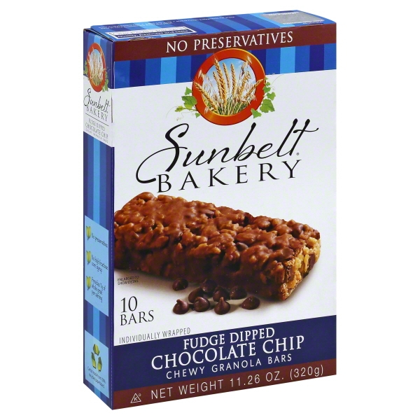Sunbelt Bakery Family Pack Fudge Dipped Chocolate Chip Chewy Granola Bars, 11.26 oz