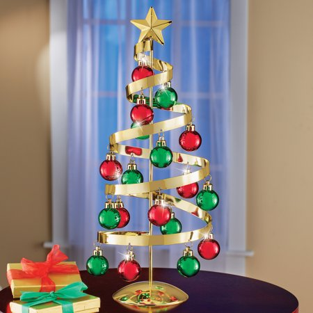 Collections Etc Gold Tabletop Christmas Tree Sculpture with Ornaments ()