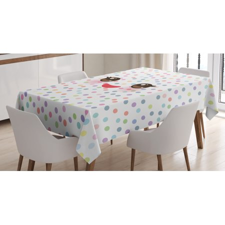 Eyelash Tablecloth, Kawaii Funny Muzzle with Pink Cheeks and Cute Eyes on Colorful Polka Dots Backdrop, Rectangular Table Cover for Dining Room Kitchen, 60 X 90 Inches, Multicolor, by - Pink Polka Dot Table Cover