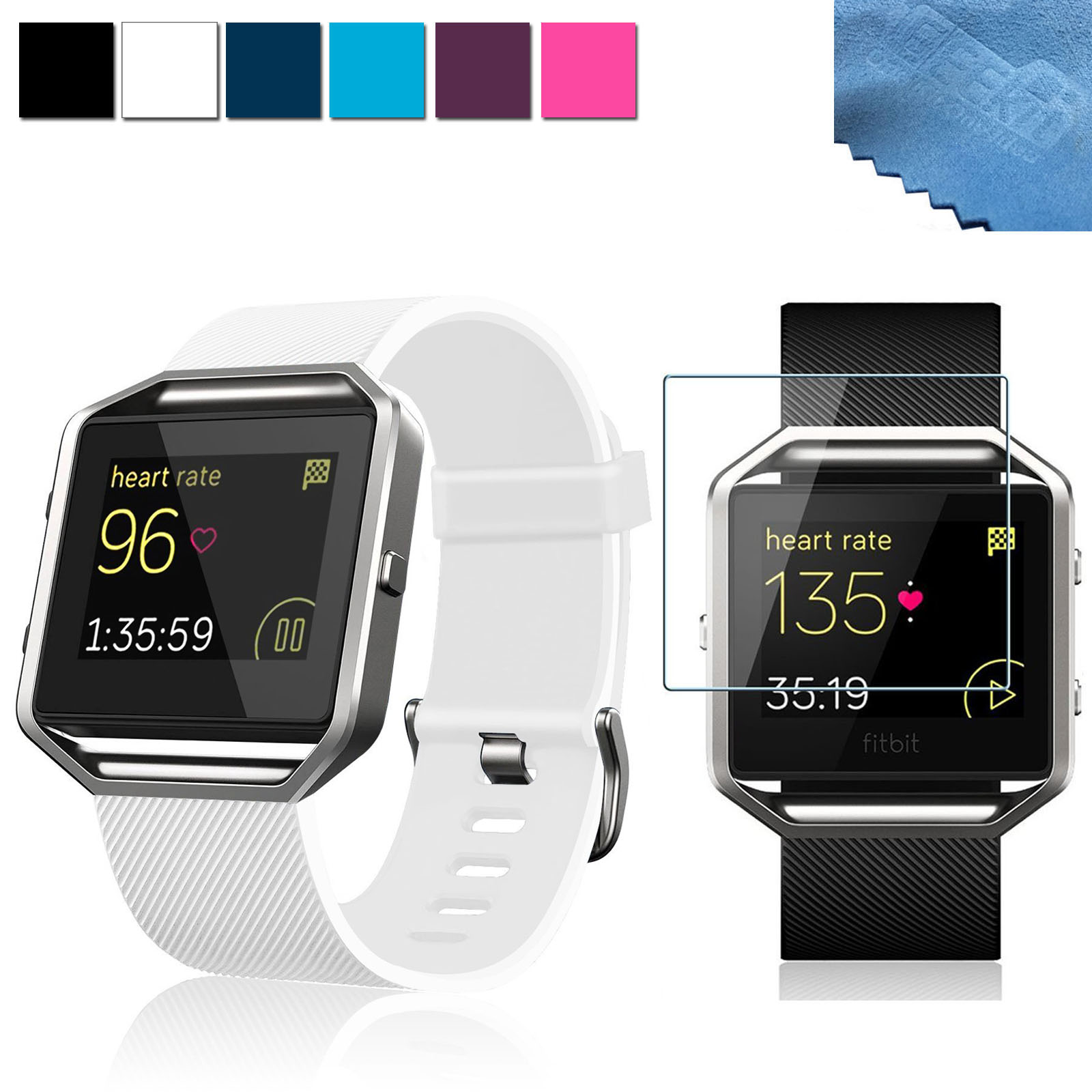 EEKit 2in1 Kit for Fitbit Blaze Smart Watch, Silicone Replacement Wrist Watch Band Strap+Tempered Glass Screen Protector