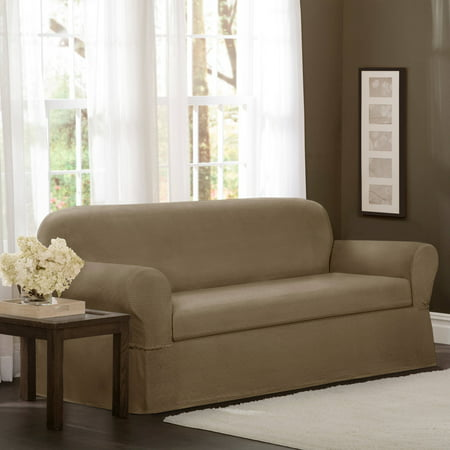 Floral Furniture Slipcover - Maytex Stretch Torie 2 Piece Sofa Furniture Cover Slipcover, Tan