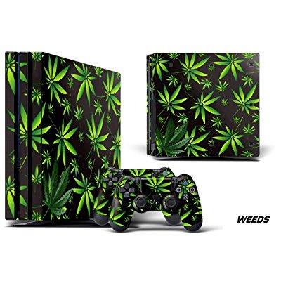 Designer Decal For Playstation 4 Pro System Plus Two  2  Decals For Ps4 Dualshock Controller   Weed