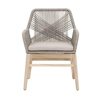 Benzara Weave Design Outdoor Dining Arm Chair With Loose Seat Cushion, Gray, Set Of Two