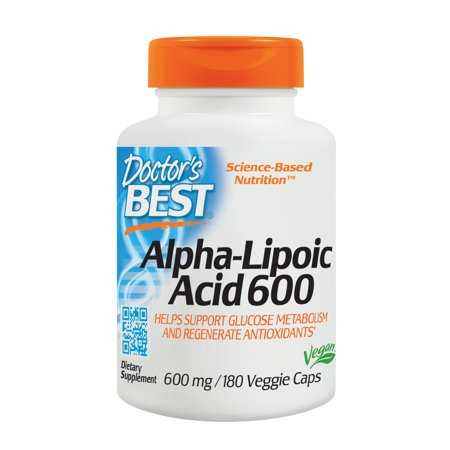 Doctor's Best Alpha-Lipoic Acid, Non-GMO, Gluten Free, Vegan, Soy Free, Helps Maintain Blood Sugar Levels, 600 mg 180 Veggie