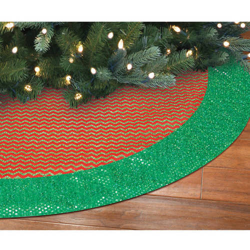"Holiday Time 48"" Canvas Tree Skirt with Glittered Chevron Pattern, Red with Green Pattern and Border"