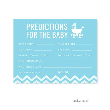 Predictions For Baby Baby Blue Chevron Baby Shower Games, - Baby Shower Decorations For Boys