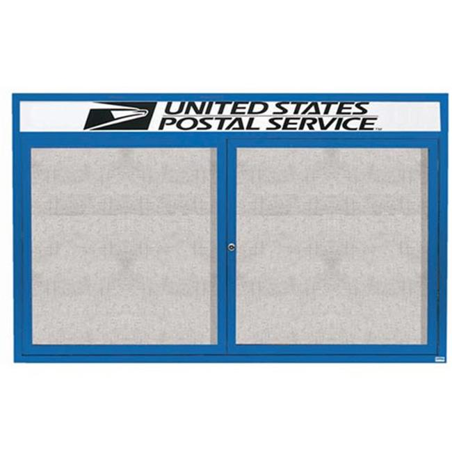 Aarco Products ODCC4872RHIB Illuminated Outdoor Enclosed Bulletin Board with Header - Blue