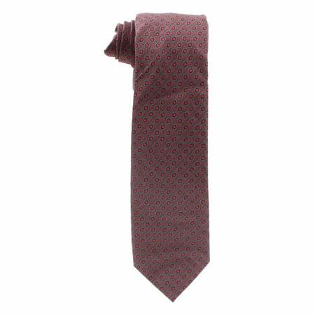 Alfani Mens Parker Dot Slim Silk Tie (Wine, One Size)