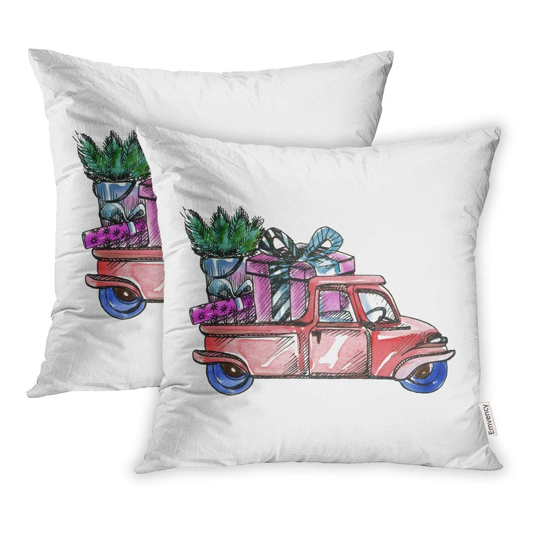 CMFUN Green Auto Watercolor Cartoon Car Fir Branches and New Year on White Red Branch Pillowcase Cushion Cases 18x18 inch Set of 2
