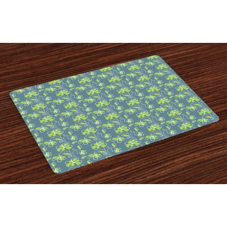 Floral Placemats Set Of 4 Spring Nature Inspired Doodle Design With Green Petals Swirling Stems