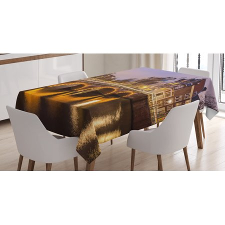 Rectangular Amber Ring - Landscape Tablecloth, Old Historical Bridge in Netherlands Twilight European Architecture Town Scenery, Rectangular Table Cover for Dining Room Kitchen, 52 X 70 Inches, Amber Lilac, by Ambesonne