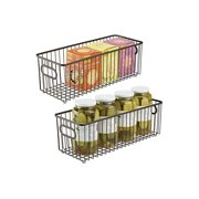 Metal Farmhouse Kitchen Pantry Food Storage Organizer Basket Bin - Wire Grid Design - for Cabinets, Cupboards, Shelves, Countertops, Closets, Bedroom, Bathroom - 16' Long, 2 Pack - Bronze