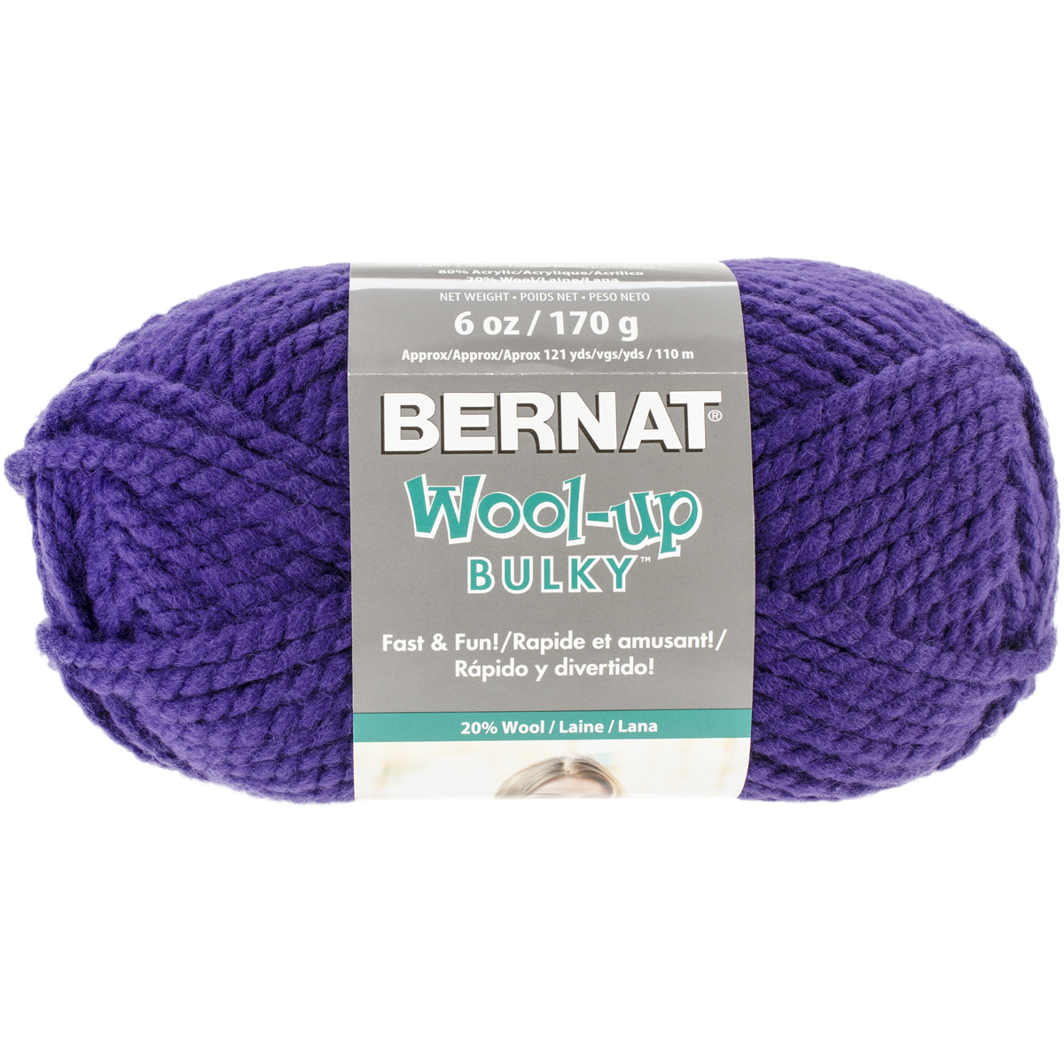 Spinrite Wool-Up Bulky Yarn, Purple Multi-Colored