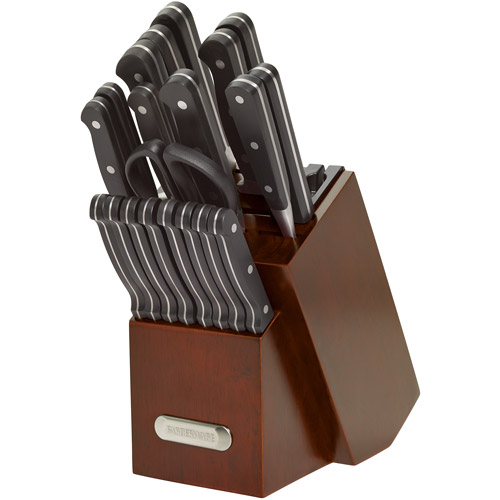 Farberware 21 piece Classic Forged Triple Riveted Cutlery Set with Built-in Knife Sharpener