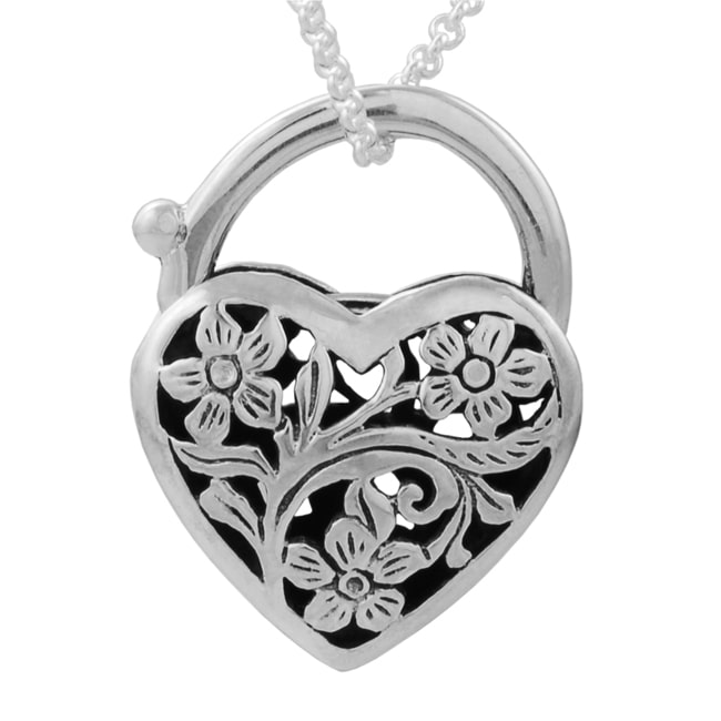 Journee Collection Journee Sterling Silver Heart Padlock with Flower Necklace