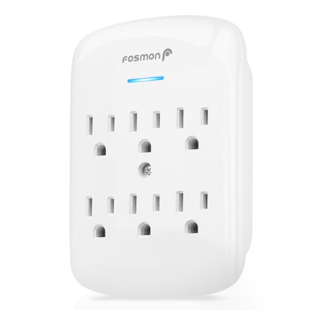 6 Outlet Wall Mount Surge Protector, Fosmon 3-Prong Surge Suppression 700 Joules, 15A 125VAC 60Hz 1875Watts Wall Outlet Adapter, Grounded LED, ETL Listed - White