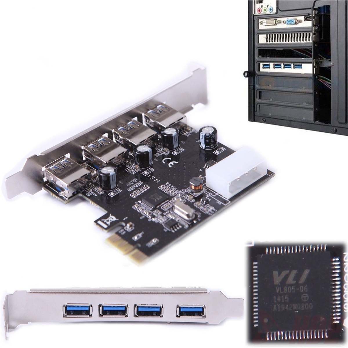4 Port PCI Express PCIe Super 4 Speed USB 3.0 Controller Card Adapter For PC