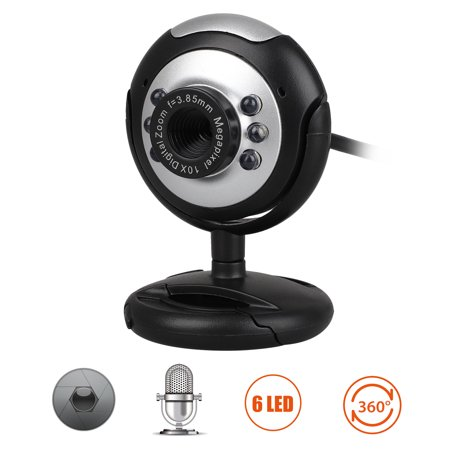 TSV USB 6 LED 1 2 Megapixel USB PC Webcam Web Camera + Mic/Microphone MSN,  ICQ, AIM, Skype, Net Meeting and Support Windows 2000/XP/Vista and Later