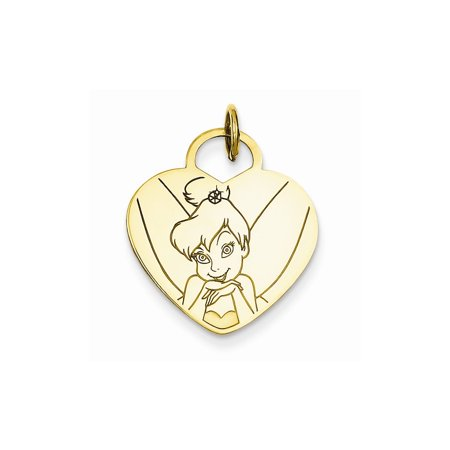 Tinkerbell Heart Charm - Gold-Toned Sterling Silver Disney Tinker Bell Heart Pendant Charm (19mm x 24mm)