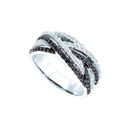 Woven Strand Spring Ring (Size 7 - 14k White Gold Round Black Diamond Woven Strands Band Ring 7/8 Cttw )